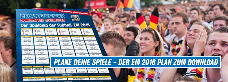 UEFA Europermeisterschaft 2016 Spielplan zum Download