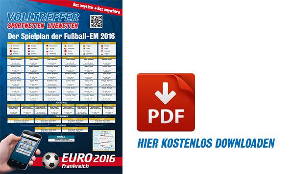 UEFA EURO 2016 EM-Spielplan kostenlos downloaden